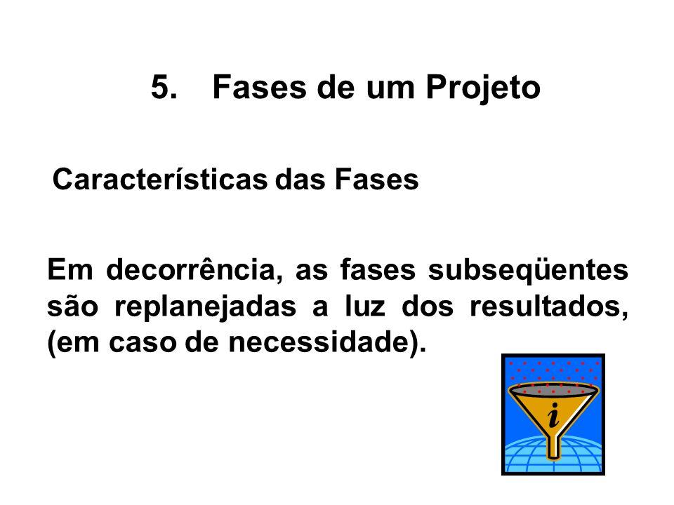 Em decorrência, as fases subseqüentes são replanejadas a luz dos resultados, (em caso de necessidade). 5.Fases de um Projeto Características das Fases