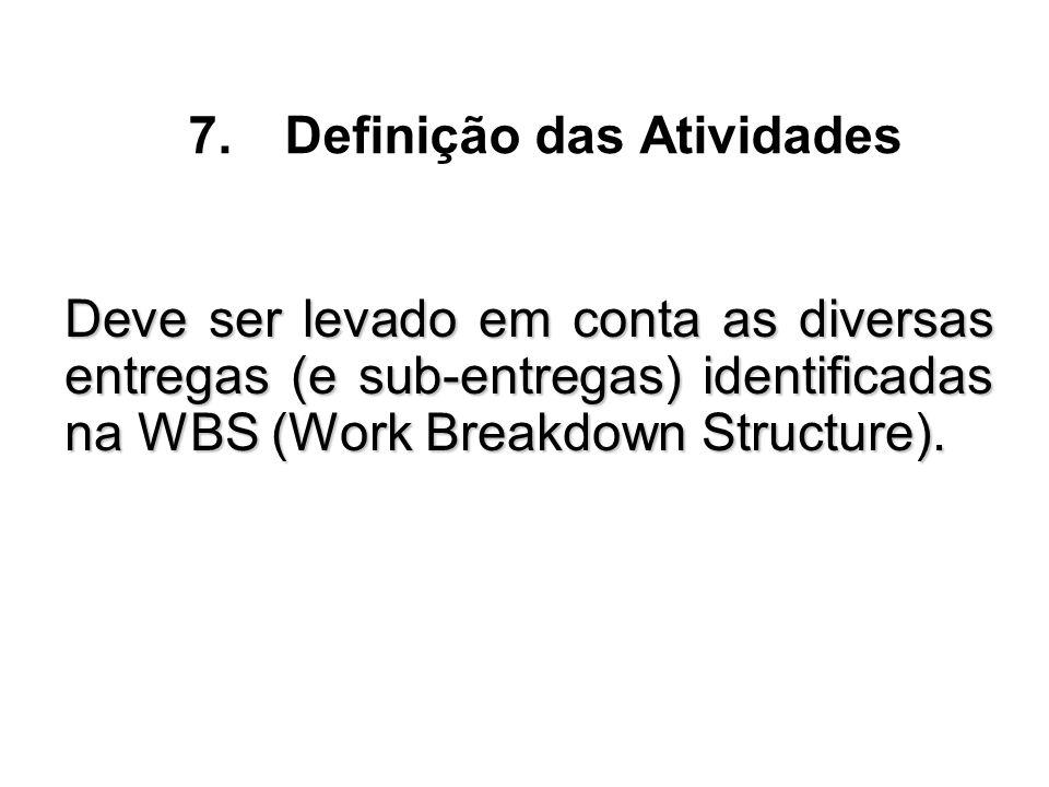 Deve ser levado em conta as diversas entregas (e sub-entregas) identificadas na WBS (Work Breakdown Structure). 7.Definição das Atividades