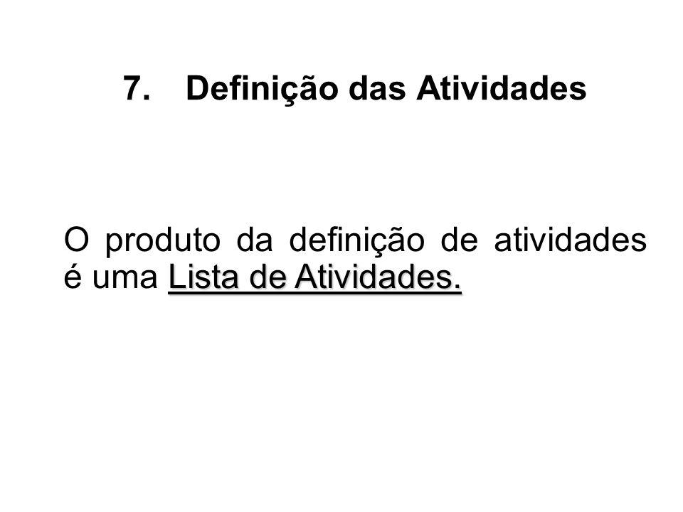 Lista de Atividades. O produto da definição de atividades é uma Lista de Atividades. 7.Definição das Atividades