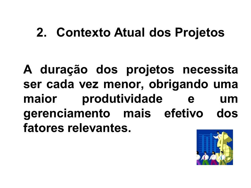 A duração dos projetos necessita ser cada vez menor, obrigando uma maior produtividade e um gerenciamento mais efetivo dos fatores relevantes. 2.Conte
