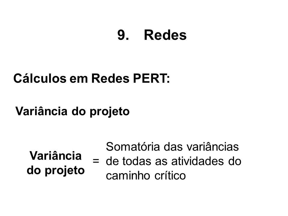 Variância do projeto 9.Redes Cálculos em Redes PERT: Variância do projeto = Somatória das variâncias de todas as atividades do caminho crítico
