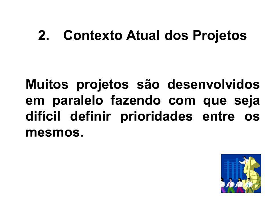 Muitos projetos são desenvolvidos em paralelo fazendo com que seja difícil definir prioridades entre os mesmos. 2.Contexto Atual dos Projetos
