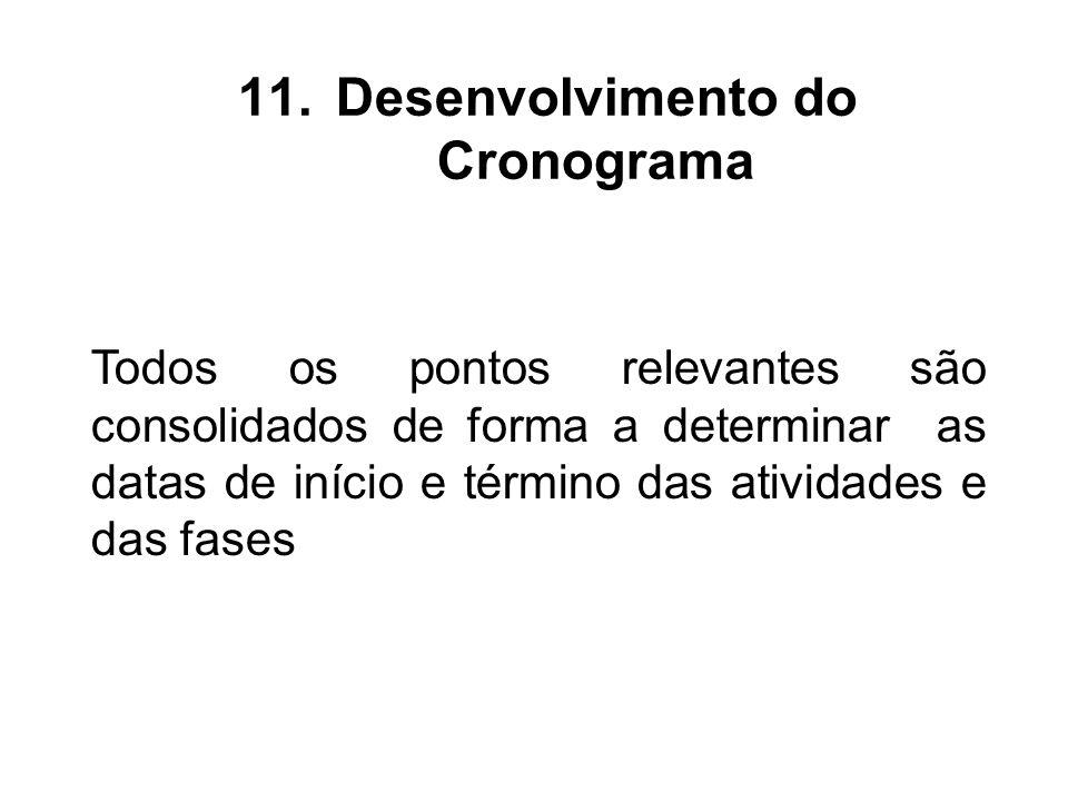Todos os pontos relevantes são consolidados de forma a determinar as datas de início e término das atividades e das fases 11.Desenvolvimento do Cronog