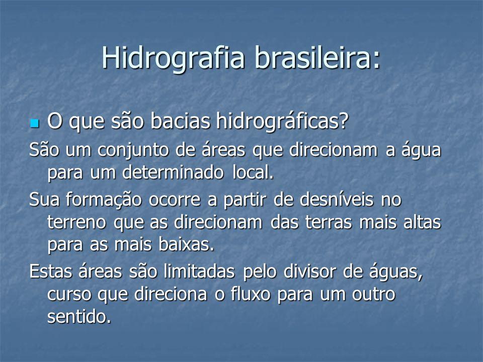 Hidrografia brasileira: O que são bacias hidrográficas? O que são bacias hidrográficas? São um conjunto de áreas que direcionam a água para um determi