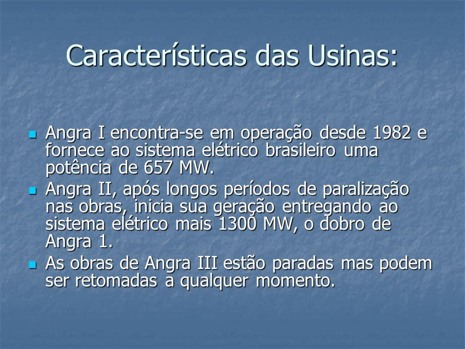 Características das Usinas: Angra I encontra-se em operação desde 1982 e fornece ao sistema elétrico brasileiro uma potência de 657 MW. Angra I encont