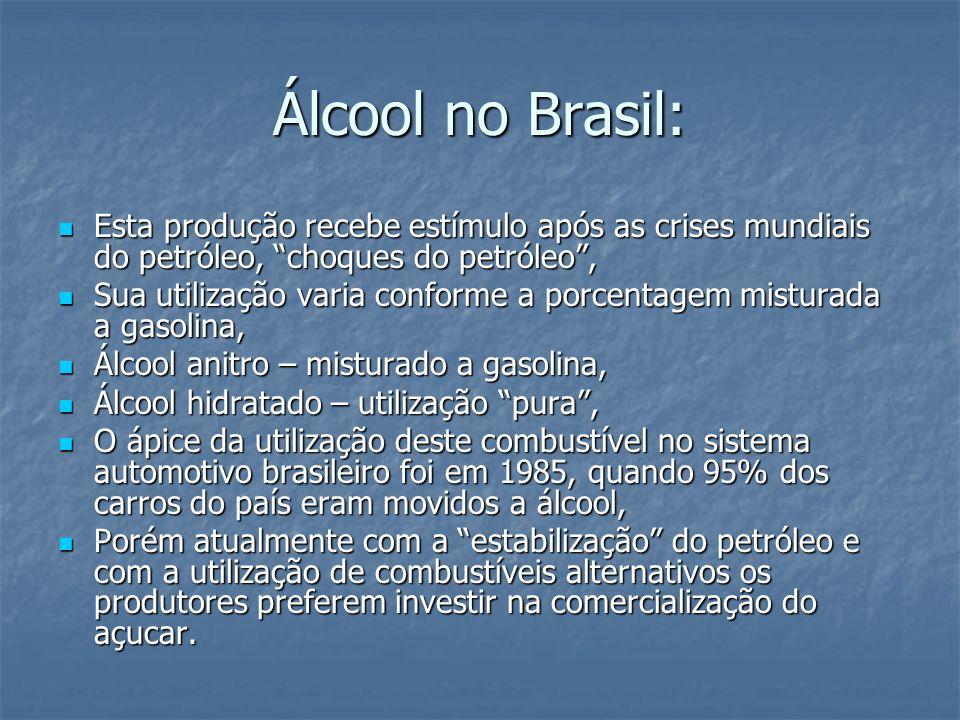 Álcool no Brasil: Esta produção recebe estímulo após as crises mundiais do petróleo, choques do petróleo, Esta produção recebe estímulo após as crises