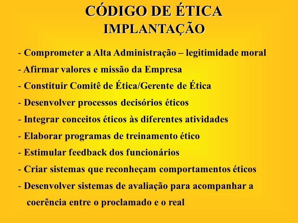 CÓDIGO DE ÉTICA IMPLANTAÇÃO - Comprometer a Alta Administração – legitimidade moral - Afirmar valores e missão da Empresa - Constituir Comitê de Ética
