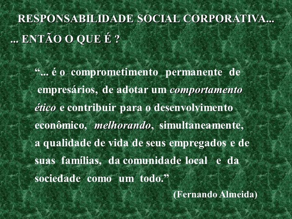 RESPONSABILIDADE SOCIAL CORPORATIVA...... ENTÃO O QUE É ?... é o comprometimento permanente de comportamento empresários, de adotar um comportamento é