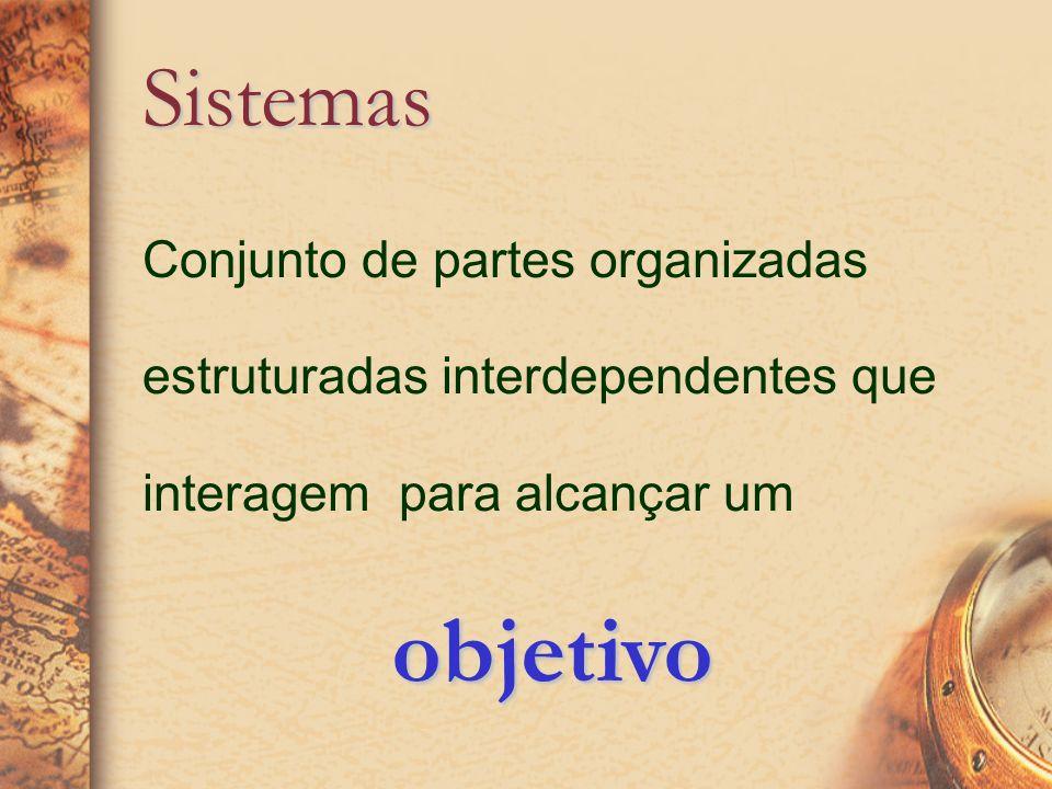 Conjunto de partes organizadas estruturadas interdependentes que interagem para alcançar um Sistemas objetivo objetivo