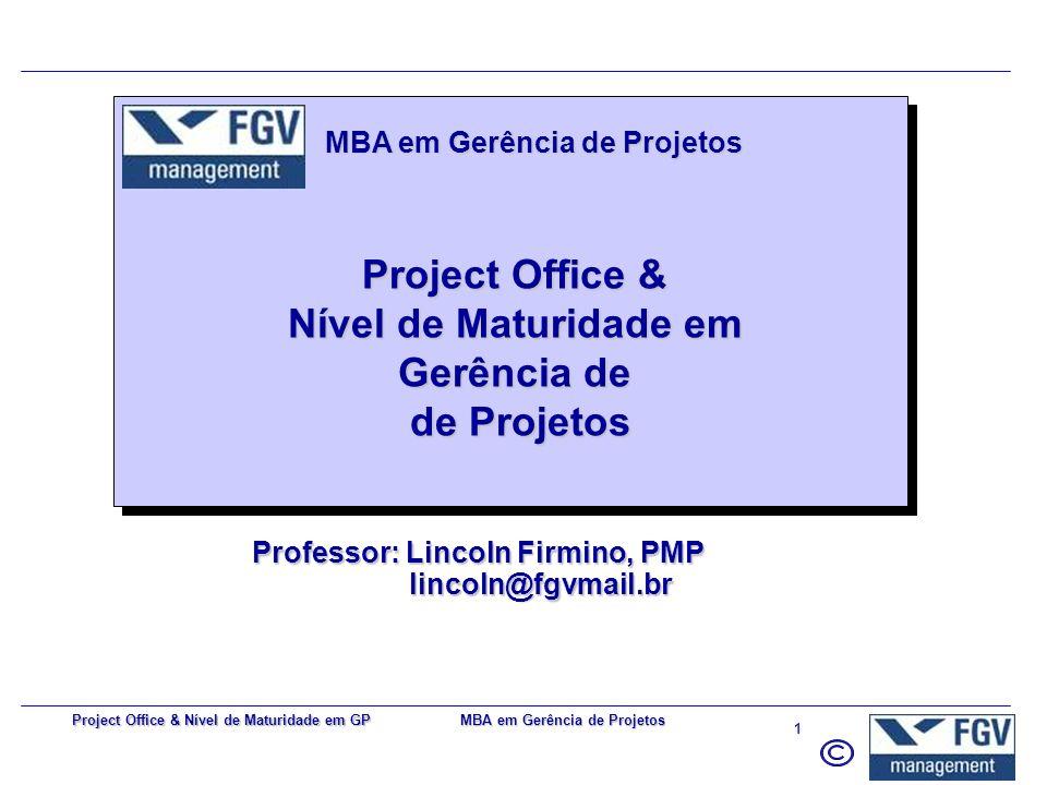 MBA em Gerência de Projetos 41 Project Office & Nível de Maturidade em GP Centro de suporte a projetos (unificação de esforços) –Escopo –Prazo –Orçamento –Qualidade –Recursos (int.