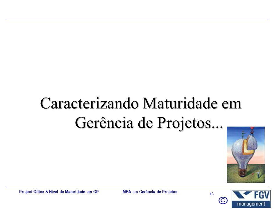 MBA em Gerência de Projetos 15 Project Office & Nível de Maturidade em GP Portfólio x Programa *** Fonte: Project Portfolio Management and managing mu