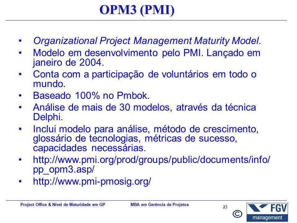 MBA em Gerência de Projetos 22 Project Office & Nível de Maturidade em GP CMMI Capability Maturity Model Integration. Desenvolvido em 1986 pelo Softwa