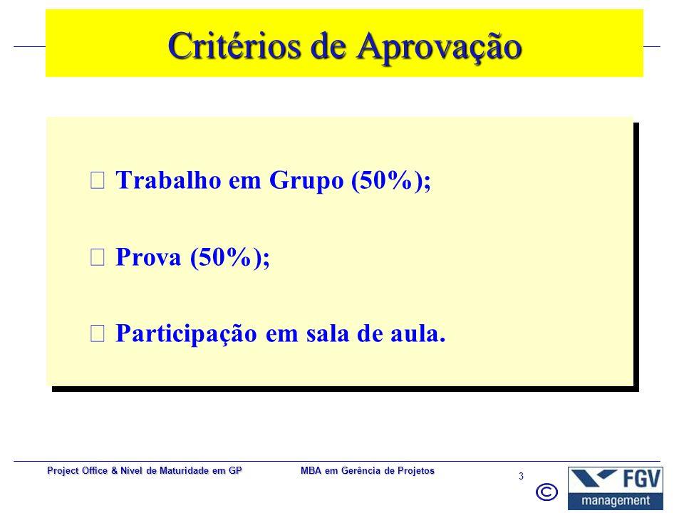 MBA em Gerência de Projetos 3 Project Office & Nível de Maturidade em GP Critérios de Aprovação  Trabalho em Grupo (50%);  Prova (50%);  Participação em sala de aula.