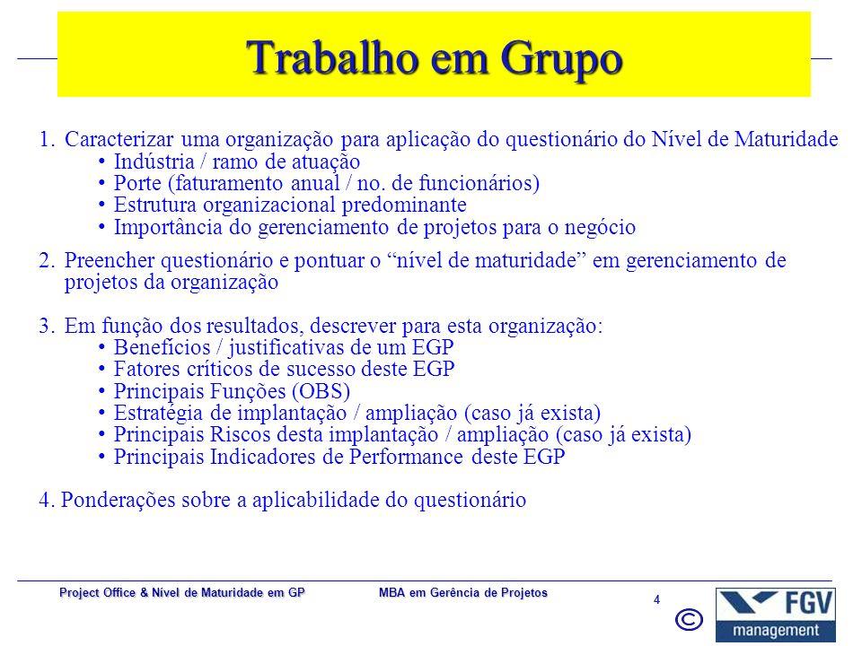 MBA em Gerência de Projetos 3 Project Office & Nível de Maturidade em GP Critérios de Aprovação  Trabalho em Grupo (50%);  Prova (50%);  Participaç