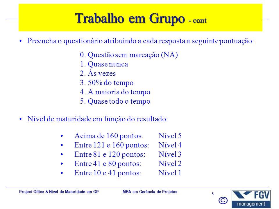 MBA em Gerência de Projetos 5 Project Office & Nível de Maturidade em GP Preencha o questionário atribuindo a cada resposta a seguinte pontuação: 0.