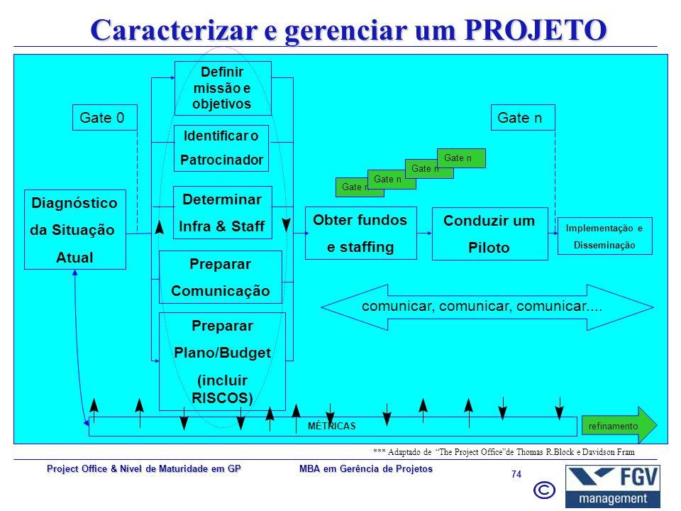 MBA em Gerência de Projetos 73 Project Office & Nível de Maturidade em GP PMO Nível 1 PMO Nível 2 PMO Nível 3 PMO Nível 1 PMO Nível 2 Nível 3 PMO Níve