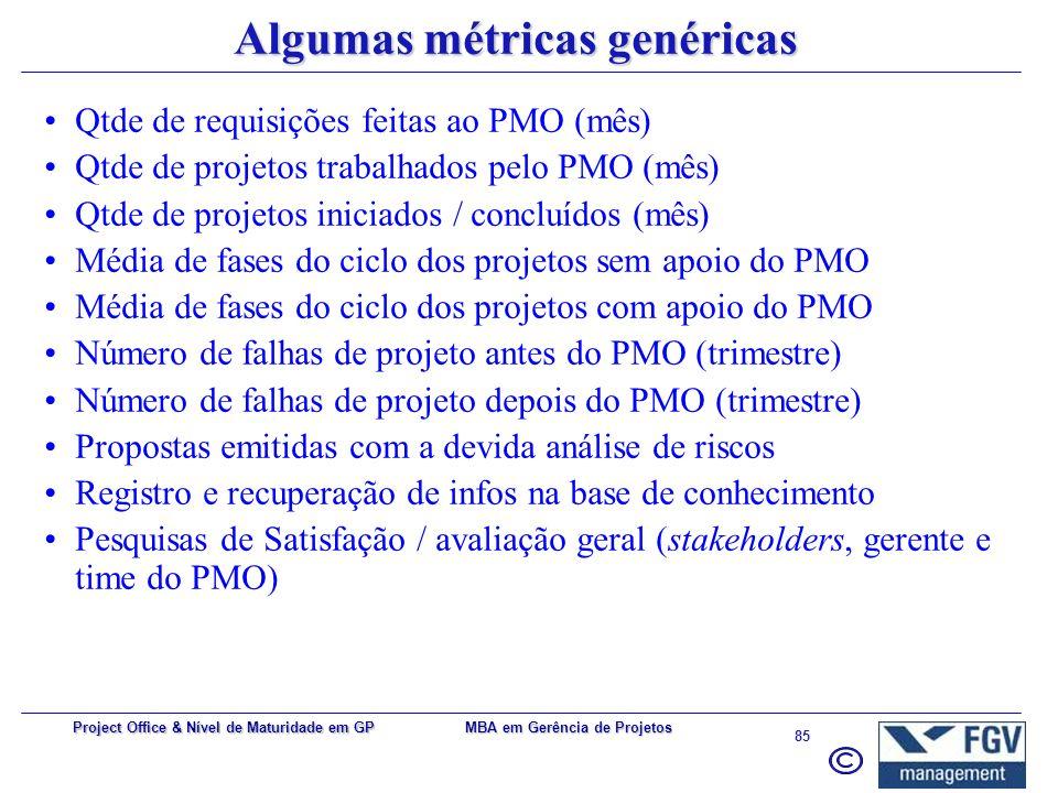 MBA em Gerência de Projetos 84 Project Office & Nível de Maturidade em GP Categorização (exemplo) *** Modelo proposto por Parviz F.Rad e Ginger Levin
