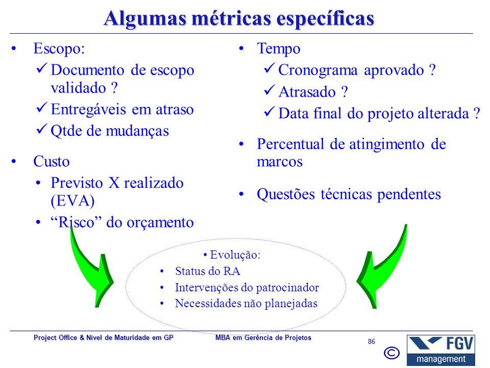 MBA em Gerência de Projetos 85 Project Office & Nível de Maturidade em GP Algumas métricas genéricas Qtde de requisições feitas ao PMO (mês) Qtde de p