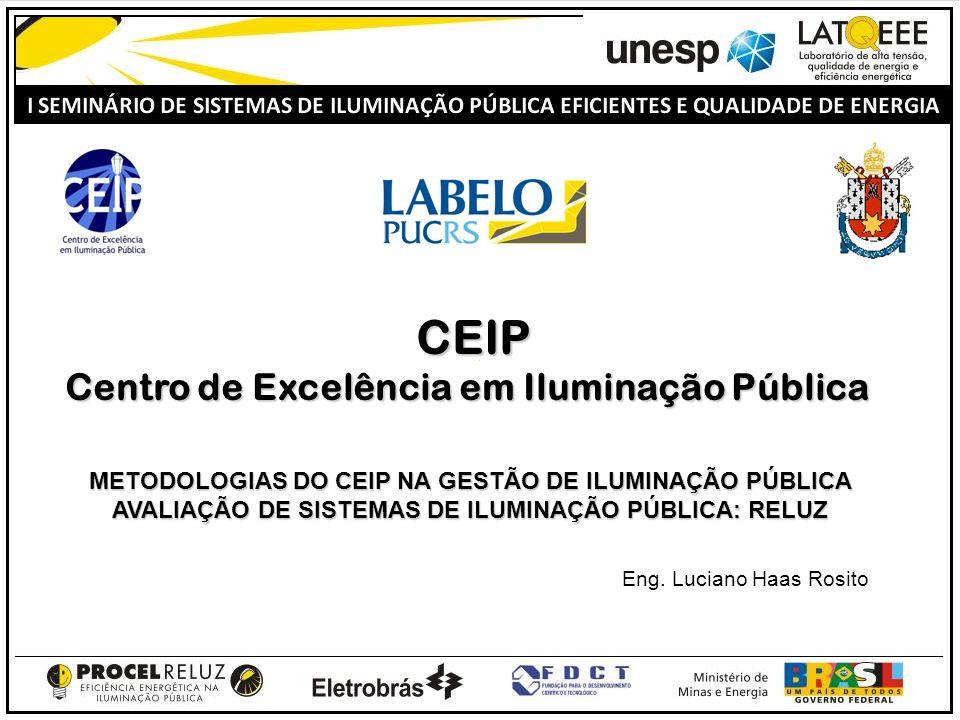 CEIP CEIP Centro de Excelência em Iluminação Pública Eng. Luciano Haas Rosito METODOLOGIAS DO CEIP NA GESTÃO DE ILUMINAÇÃO PÚBLICA AVALIAÇÃO DE SISTEM