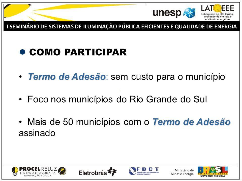 COMO PARTICIPAR Termo de Adesão Termo de Adesão: sem custo para o município Foco nos municípios do Rio Grande do Sul Termo de Adesão Mais de 50 municí