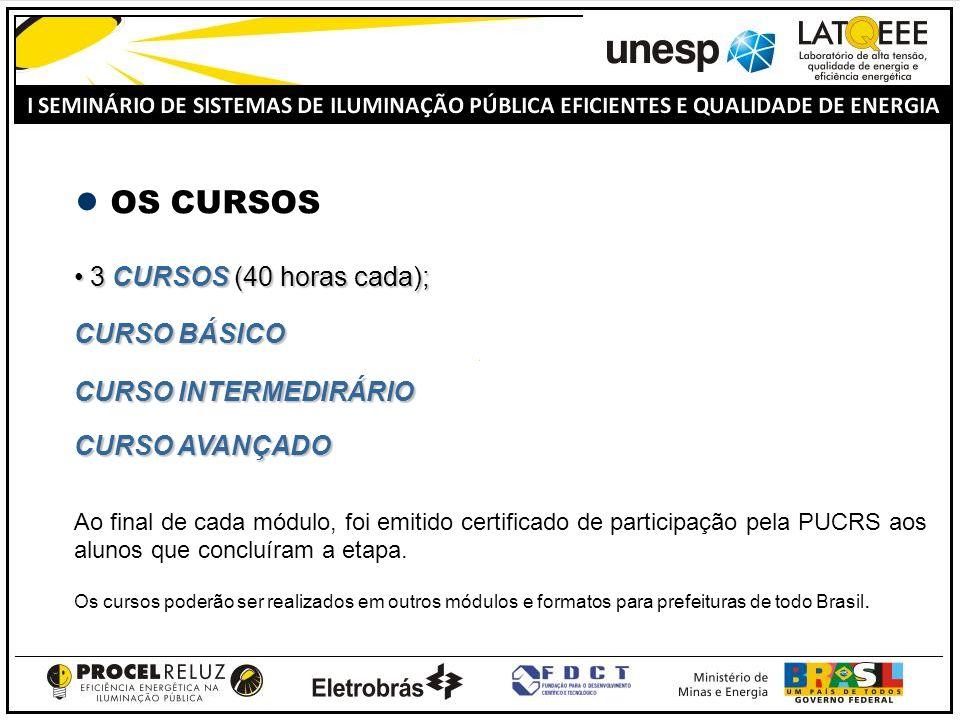 OS CURSOS 3 CURSOS (40 horas cada); 3 CURSOS (40 horas cada); CURSO BÁSICO CURSO INTERMEDIRÁRIO CURSO AVANÇADO Ao final de cada módulo, foi emitido certificado de participação pela PUCRS aos alunos que concluíram a etapa.