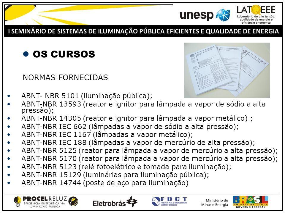 OS CURSOS NORMAS FORNECIDAS ABNT- NBR 5101 (iluminação pública); ABNT-NBR 13593 (reator e ignitor para lâmpada a vapor de sódio a alta pressão); ABNT-NBR 14305 (reator e ignitor para lâmpada a vapor metálico) ; ABNT-NBR IEC 662 (lâmpadas a vapor de sódio a alta pressão); ABNT-NBR IEC 1167 (lâmpadas a vapor metálico); ABNT-NBR IEC 188 (lâmpadas a vapor de mercúrio de alta pressão); ABNT-NBR 5125 (reator para lâmpada a vapor de mercúrio a alta pressão); ABNT-NBR 5170 (reator para lâmpada a vapor de mercúrio a alta pressão); ABNT-NBR 5123 (relé fotoelétrico e tomada para iluminação); ABNT-NBR 15129 (luminárias para iluminação pública); ABNT-NBR 14744 (poste de aço para iluminação)