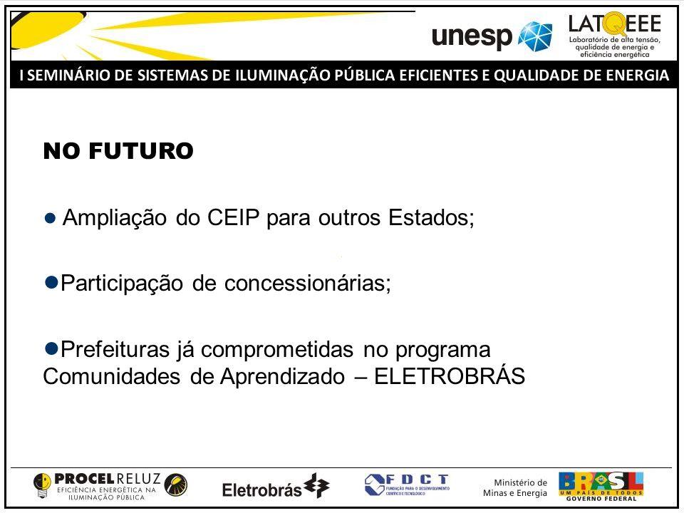 NO FUTURO Ampliação do CEIP para outros Estados; Participação de concessionárias; Prefeituras já comprometidas no programa Comunidades de Aprendizado