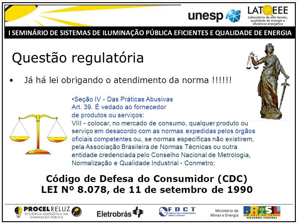 Questão regulatória Já há lei obrigando o atendimento da norma !!!!!! Código de Defesa do Consumidor (CDC) LEI Nº 8.078, de 11 de setembro de 1990 Seç