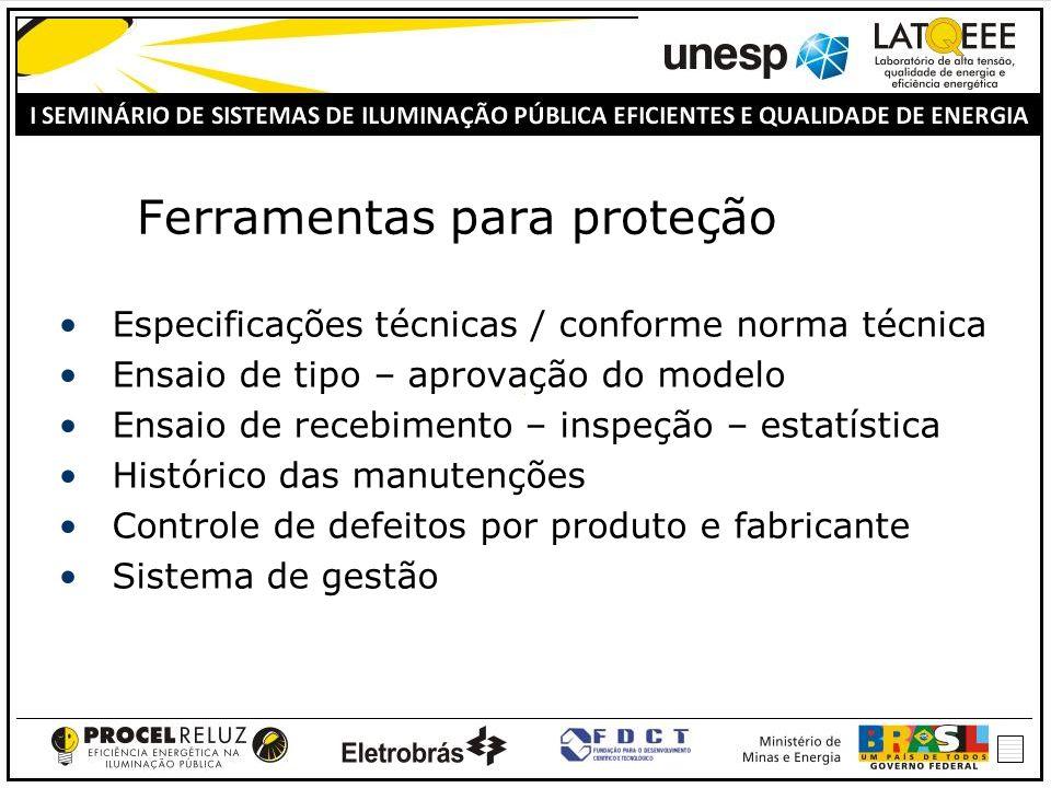 Ferramentas para proteção Especificações técnicas / conforme norma técnica Ensaio de tipo – aprovação do modelo Ensaio de recebimento – inspeção – estatística Histórico das manutenções Controle de defeitos por produto e fabricante Sistema de gestão