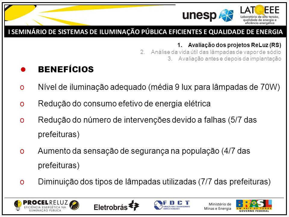 BENEFÍCIOS oNível de iluminação adequado (média 9 lux para lâmpadas de 70W) oRedução do consumo efetivo de energia elétrica oRedução do número de intervenções devido a falhas (5/7 das prefeituras) oAumento da sensação de segurança na população (4/7 das prefeituras) oDiminuição dos tipos de lâmpadas utilizadas (7/7 das prefeituras) 1.Avaliação dos projetos ReLuz (RS) 2.Análise da vida útil das lâmpadas de vapor de sódio 3.Avaliação antes e depois da implantação