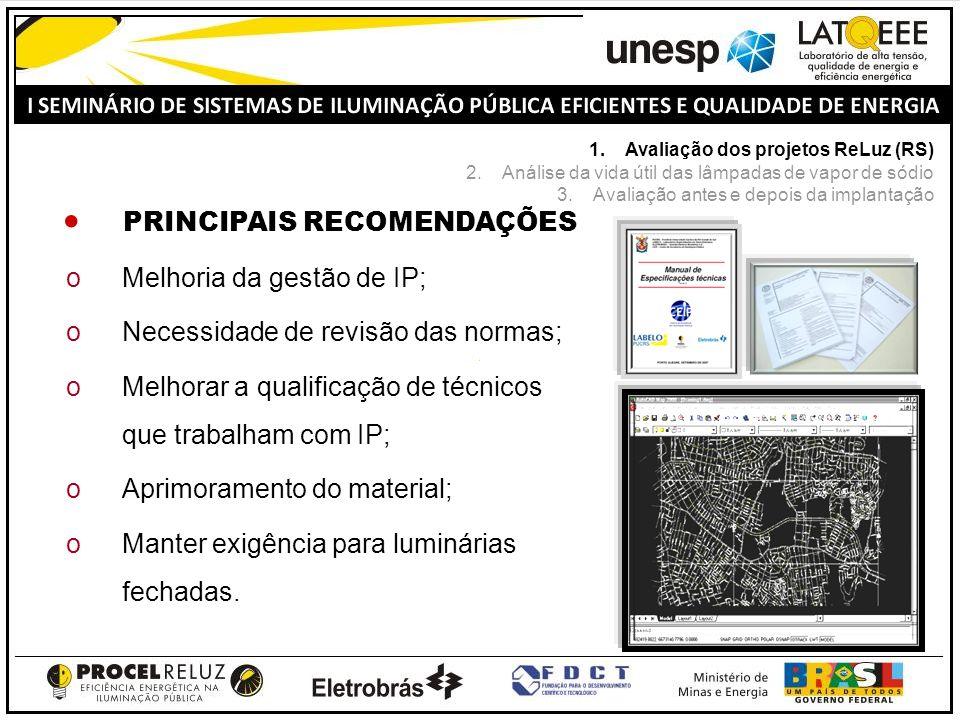 PRINCIPAIS RECOMENDAÇÕES oMelhoria da gestão de IP; oNecessidade de revisão das normas; oMelhorar a qualificação de técnicos que trabalham com IP; oAp