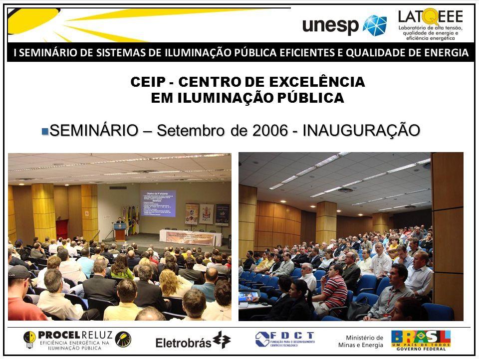 SEMINÁRIO – Setembro de 2006 - INAUGURAÇÃO SEMINÁRIO – Setembro de 2006 - INAUGURAÇÃO CEIP - CENTRO DE EXCELÊNCIA EM ILUMINAÇÃO PÚBLICA