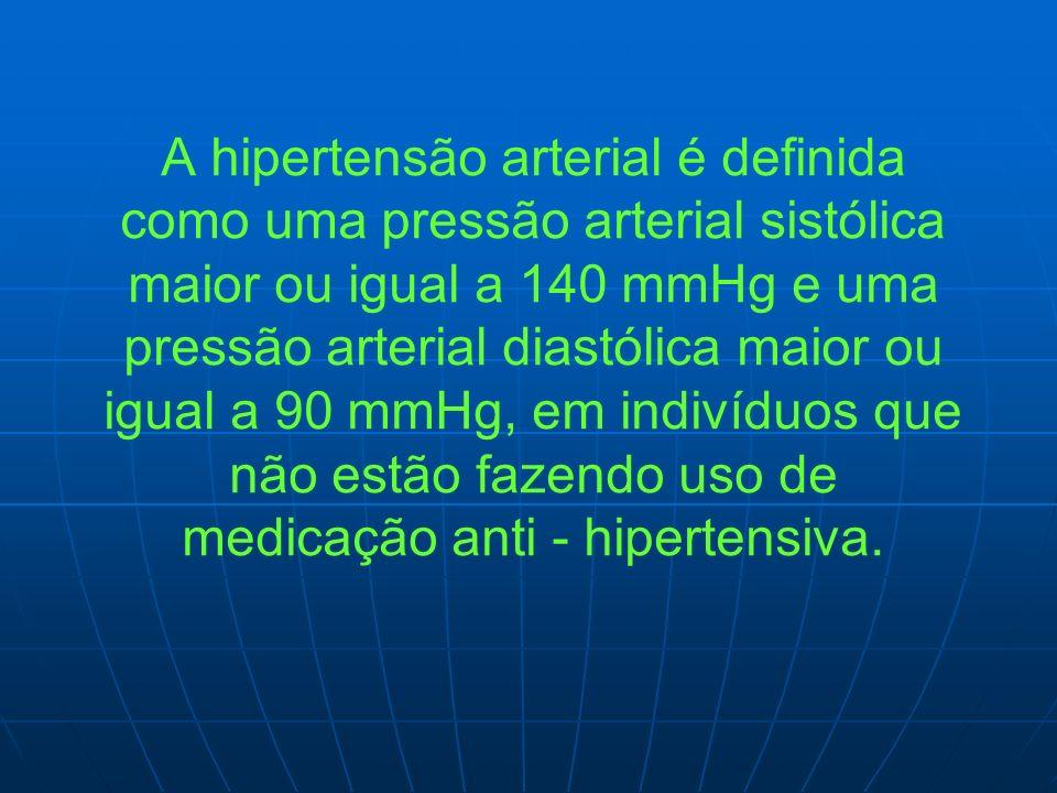 A hipertensão arterial é definida como uma pressão arterial sistólica maior ou igual a 140 mmHg e uma pressão arterial diastólica maior ou igual a 90