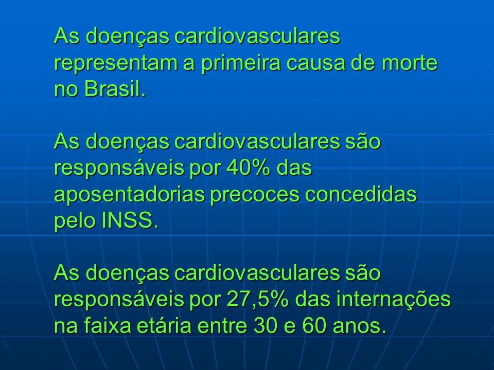 As doenças cardiovasculares representam a primeira causa de morte no Brasil. As doenças cardiovasculares são responsáveis por 40% das aposentadorias p