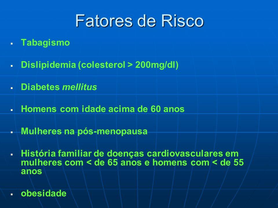 Fatores de Risco Tabagismo Dislipidemia (colesterol > 200mg/dl) Diabetes mellitus Homens com idade acima de 60 anos Mulheres na pós-menopausa História