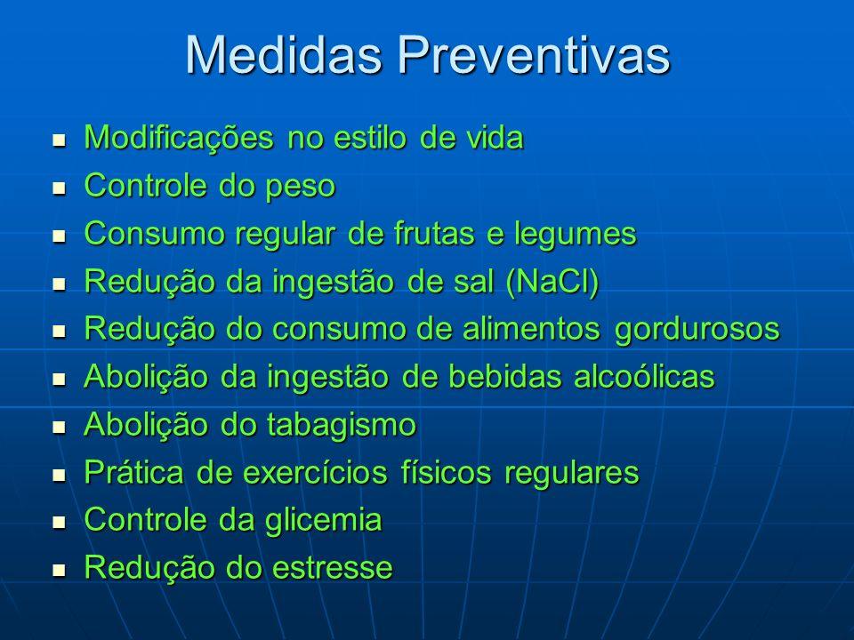 Medidas Preventivas Modificações no estilo de vida Modificações no estilo de vida Controle do peso Controle do peso Consumo regular de frutas e legume