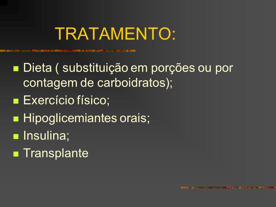 TRATAMENTO: Dieta ( substituição em porções ou por contagem de carboidratos); Exercício físico; Hipoglicemiantes orais; Insulina; Transplante