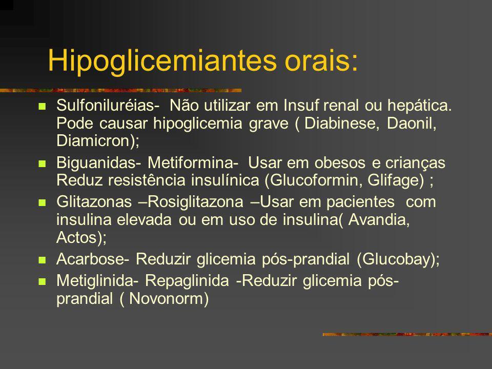 Hipoglicemiantes orais: Sulfoniluréias- Não utilizar em Insuf renal ou hepática. Pode causar hipoglicemia grave ( Diabinese, Daonil, Diamicron); Bigua