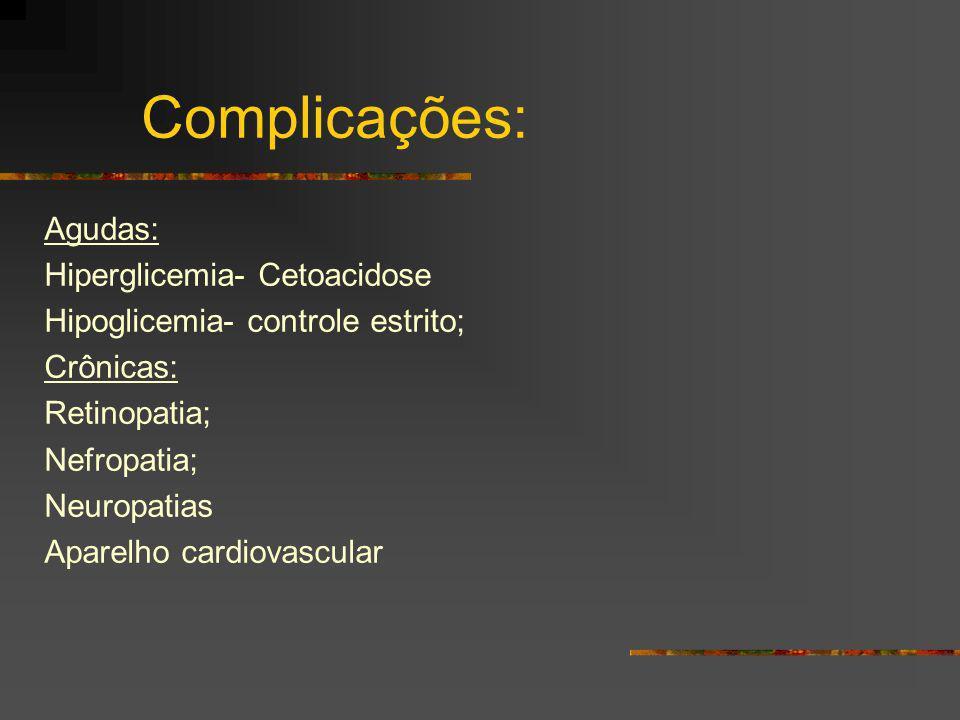 Complicações: Agudas: Hiperglicemia- Cetoacidose Hipoglicemia- controle estrito; Crônicas: Retinopatia; Nefropatia; Neuropatias Aparelho cardiovascula