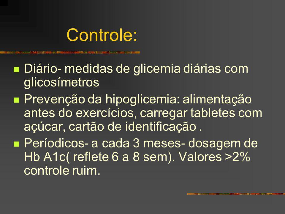 Controle: Diário- medidas de glicemia diárias com glicosímetros Prevenção da hipoglicemia: alimentação antes do exercícios, carregar tabletes com açúc