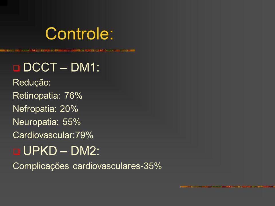 Controle: DCCT – DM1: Redução: Retinopatia: 76% Nefropatia: 20% Neuropatia: 55% Cardiovascular:79% UPKD – DM2: Complicações cardiovasculares-35%