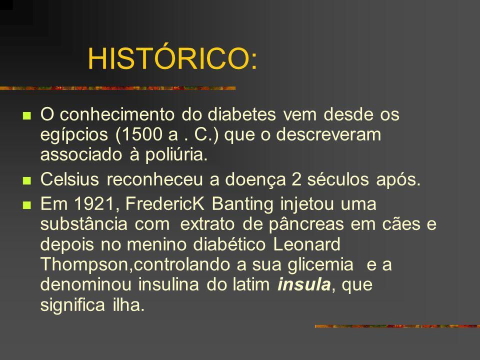 HISTÓRICO: O conhecimento do diabetes vem desde os egípcios (1500 a. C.) que o descreveram associado à poliúria. Celsius reconheceu a doença 2 séculos