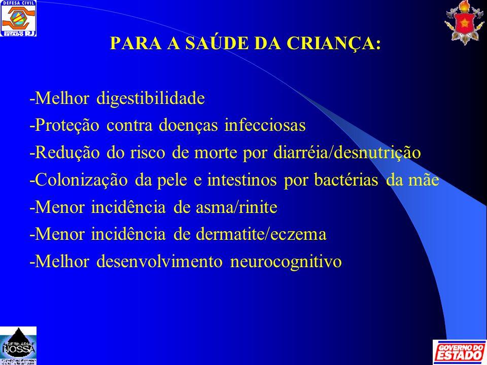 PARA A SAÚDE DA CRIANÇA: -Melhor digestibilidade -Proteção contra doenças infecciosas -Redução do risco de morte por diarréia/desnutrição -Colonização