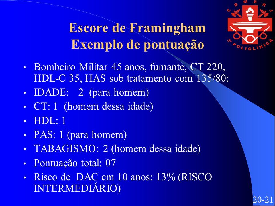 Escore de Framingham Exemplo de pontuação Bombeiro Militar 45 anos, fumante, CT 220, HDL-C 35, HAS sob tratamento com 135/80: IDADE: 2 (para homem) CT: 1 (homem dessa idade) HDL: 1 PAS: 1 (para homem) TABAGISMO: 2 (homem dessa idade) Pontuação total: 07 Risco de DAC em 10 anos: 13% (RISCO INTERMEDIÁRIO) 20-21