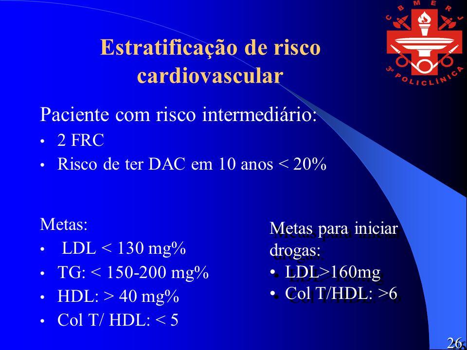 Estratificação de risco cardiovascular Paciente com risco intermediário: 2 FRC Risco de ter DAC em 10 anos < 20% Metas: LDL < 130 mg% TG: < 150-200 mg% HDL: > 40 mg% Col T/ HDL: < 5 Metas para iniciar drogas: LDL>160mg Col T/HDL: >6 Metas para iniciar drogas: LDL>160mg Col T/HDL: >6 2626