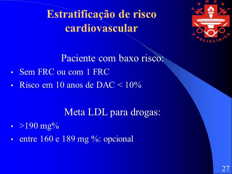 Estratificação de risco cardiovascular Paciente com baxo risco: Sem FRC ou com 1 FRC Risco em 10 anos de DAC < 10% Meta LDL para drogas: >190 mg% entre 160 e 189 mg %: opcional 27
