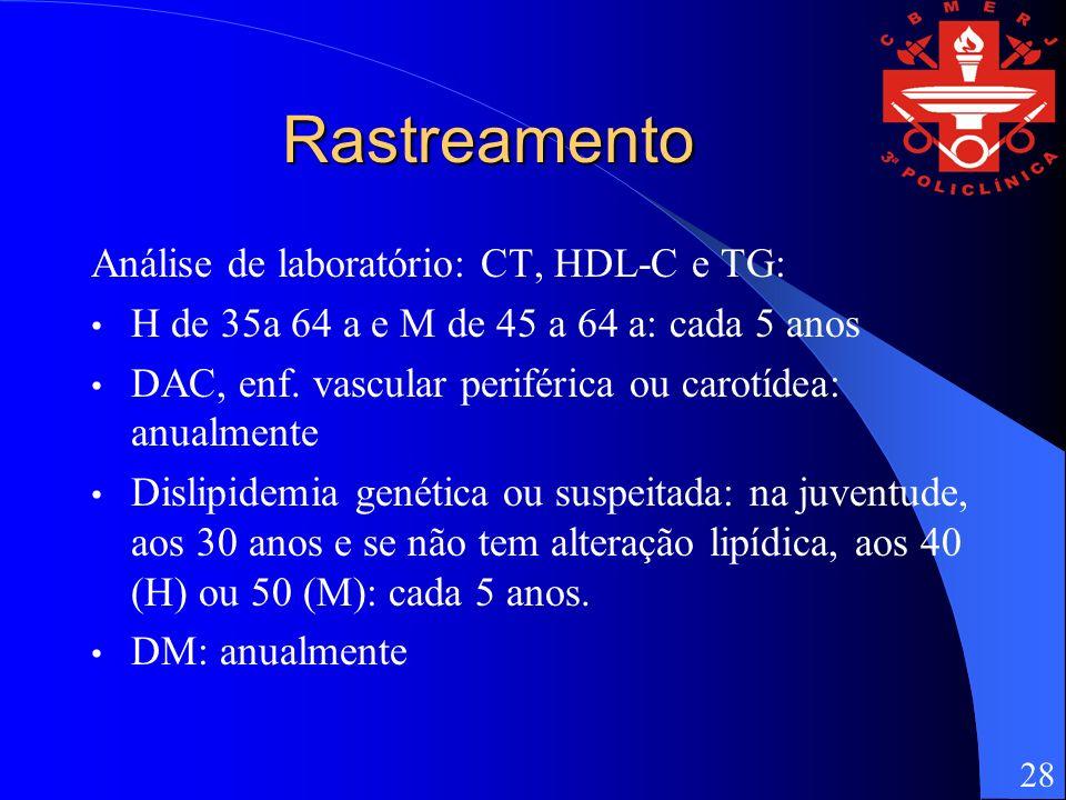 Rastreamento Análise de laboratório: CT, HDL-C e TG: H de 35a 64 a e M de 45 a 64 a: cada 5 anos DAC, enf. vascular periférica ou carotídea: anualment