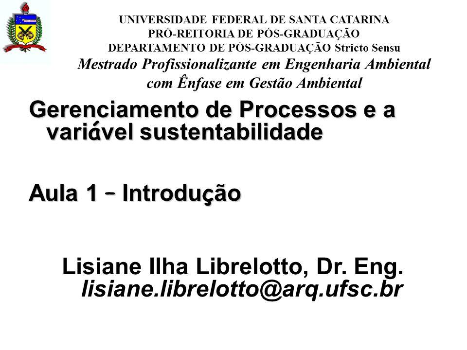Gerenciamento de Processos e a vari á vel sustentabilidade Aula 1 – Introdu ç ão Lisiane Ilha Librelotto, Dr.