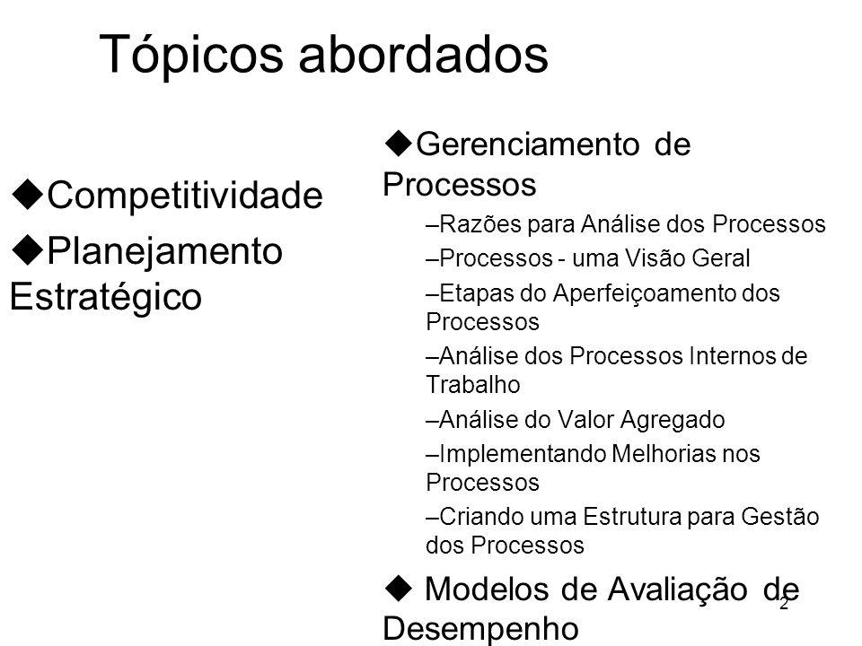 2 Tópicos abordados uCompetitividade uPlanejamento Estratégico uGerenciamento de Processos –Razões para Análise dos Processos –Processos - uma Visão Geral –Etapas do Aperfeiçoamento dos Processos –Análise dos Processos Internos de Trabalho –Análise do Valor Agregado –Implementando Melhorias nos Processos –Criando uma Estrutura para Gestão dos Processos u Modelos de Avaliação de Desempenho