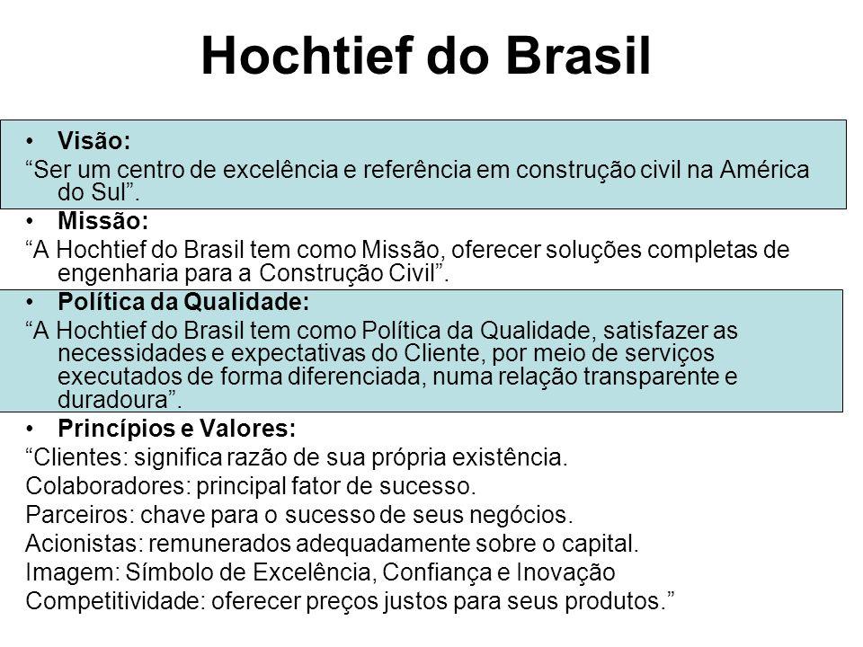 Hochtief do Brasil Visão: Ser um centro de excelência e referência em construção civil na América do Sul.